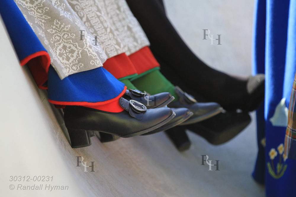 Young women wear traditional shoes with their bunads (national costumes) for May 17th Constitution Day celebration of nation's independence in Kirkenes, Norway.