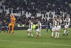 March 8, 2019 - Turin, Piedmont, Italy - Juventus players celebrate the victory after the Serie A football match between Juventus FC and Udinese Calcio at Allianz Stadium on March 08, 2019 in Turin, Italy..Juventus won 4-1 over Udinese. (Credit Image: © Massimiliano Ferraro/NurPhoto via ZUMA Press)