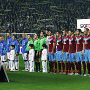 Fenerbahce's and Trabzonspor's players during their Turkish superleague soccer derby match Fenerbahce between Trabzonspor at the Sukru Saracaoglu stadium in Istanbul Turkey on Sunday 18 December 2011. Photo by TURKPIX