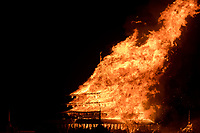 Temple Burn from: Petaluma, CA year: 2016<br /> <br /> The temple this year will be built in the tradition of David Best temples, but with a significant departure from his usual style – this temple will be hand-built without CNC cut materials. It will be extremely ornate, with a large interior altar and a large chandelier. This temple will take on an ancient air, patina'ed with organic water-based stains, and look as if it were built hundreds of years in the past.<br /> <br /> There will be 8 altars placed around the courtyard, which is walled off to create a protected, quiet, respectful space. The interactivity will be the usual function of the Burning Man temple: it will be a place for the community to come and express their emotions, reflect on the losses of friends and family members, and celebrate the lives of people around them. The temple will be built with the consideration of the community, with adequate space to accommodate the needs of people in the temple and the surrounding courtyard for reflection, safety and privacy. URL: http://www.thetemplecrew.org