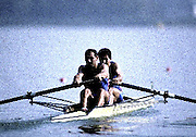 Barcelona Olympics 1992 - Lake Banyoles, SPAIN,  ITA M2+ Silver Medallist,  ABBAGNALE Carmine, ABBAGNALE Giuseppe, cox DI CAPUA Giuseppe. Photo: Peter Spurrier/Intersport Images.  Mob +44 7973 819 551/email images@intersport-images.com