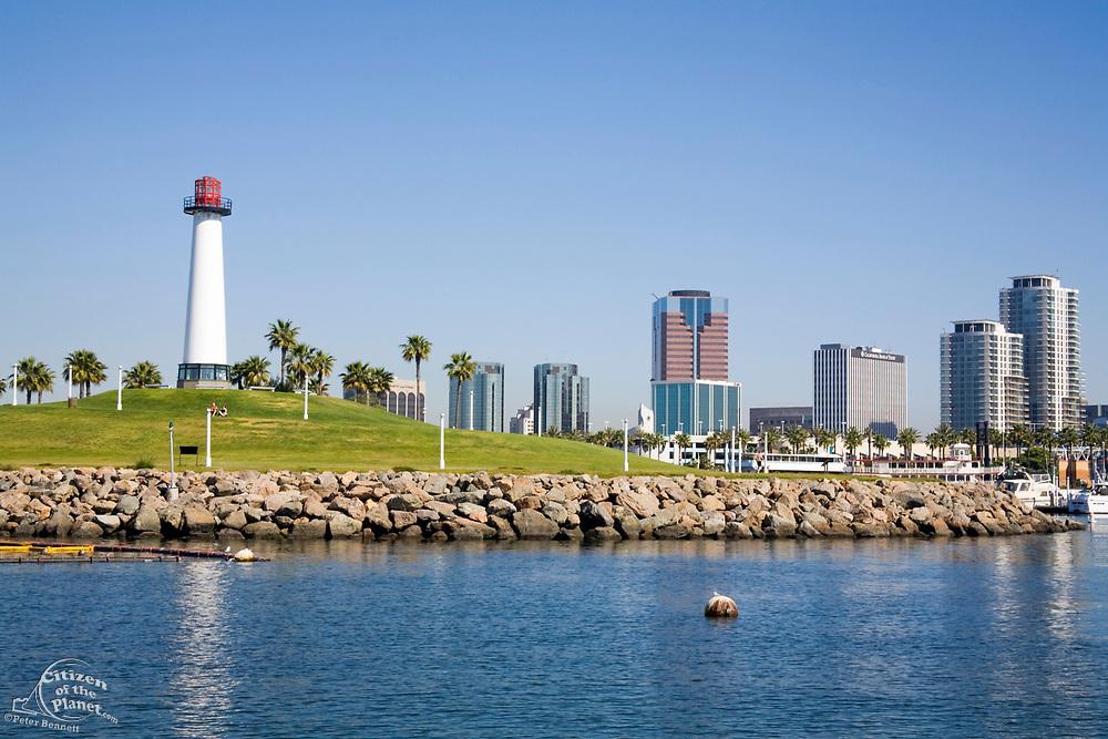 Lions Lighthouse for Sight, Rainbow Harbor, Long Beach Skyline, California, USA