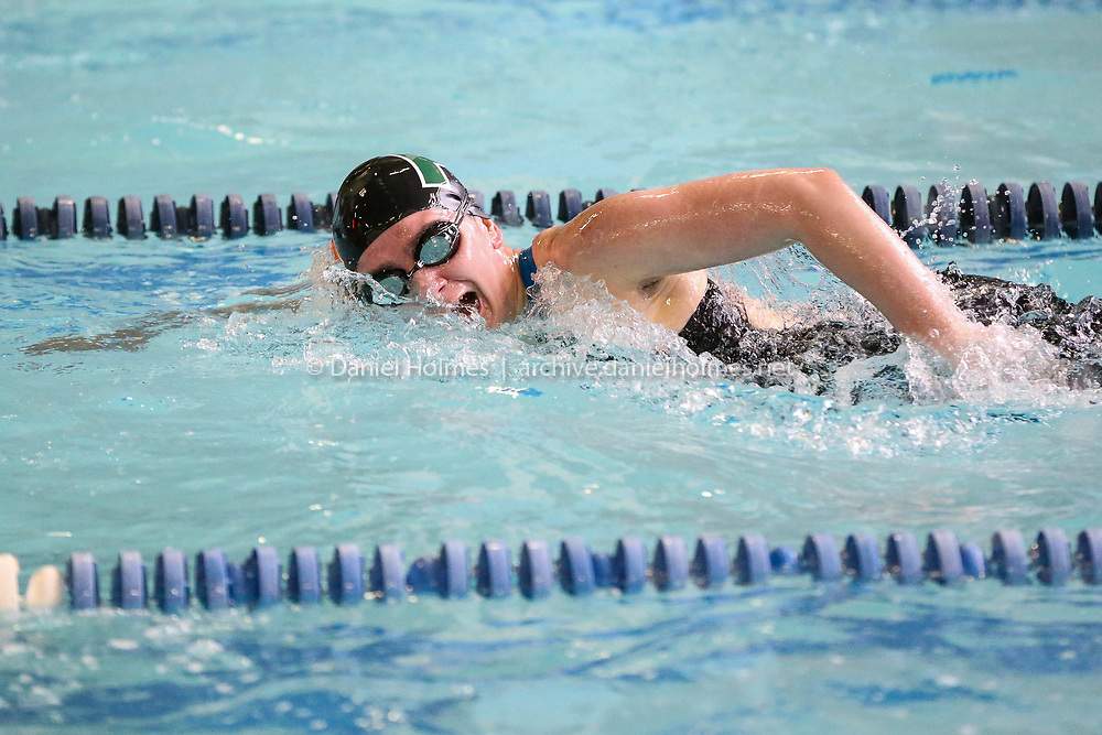 (2/4/18, FRAMINGHAM, MA) Hopkinton's Alyssa Fischer competes in the 200 yard freestyle during the Tri-Valley League swim meet at Keefe Tech in Framingham on Sunday. [Daily News and Wicked Local Photo/Dan Holmes]