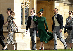 Pippa Matthews and James Middleton and her husband James Matthews arrive for the wedding of Princess Eugenie to Jack Brooksbank at St George's Chapel in Windsor Castle.
