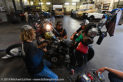 JP opened his shop for visitors to do bike repairs during the Run to Raton. Raton, NM. USA. Saturday July 21, 2018. Photography ©2018 Michael Lichter.