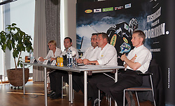 19.08.2012, Messestadion, Dornbirn, AUT, EBEL, Dornbirner Eishockey Club, DEC Media Days 2012, DEC Media Days 2012, Pressekonferenz, im Bild v. l. Renate Zmugg (Vorstandsmitglied), Patirck Maier (Vorstandsmitglied), Joe Hagen (Praesident), Andreas Kutzer (Vize Praesident) und Alexander Kutzer (General Manager) bei der Vorstellung der Struktur des Dornbirner Eishockey Club // during a press conference of DEC Media Days 2012 of Erste Bank Icehockey League Team, Dornbirner Icehockey club at the Messestadion, Dornbirn, Austria, 2012/08/19, EXPA Pictures © 2012, PhotoCredit: EXPA/ Peter Rinderer