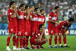 Team Turkey before penalty shots during the UEFA EURO 2008 Quarter-Final soccer match between Croatia and Turkey at Ernst-Happel Stadium, on June 20,2008, in Wien, Austria.  Won of Turkey after penalty shots. (Photo by Vid Ponikvar / Sportal Images)
