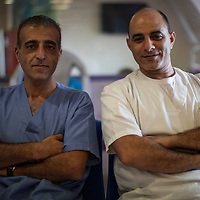 Nurses Nader Ayesh and Issa Khair in the Paediatric Dialysis Department of the Augusta Victoria Hospital in Jerusalem. The Augusta Victoria Hospital is located on the southern side of Mount of Olives in East Jerusalem and is run by the Lutheran World Federation, LWF. The hospital provides hemodialysis for patients in the West Bank with renal deficiency.