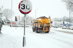 Junction of Green Lane and A6135 The Common  Ecclesfield 09:50AM and gritters are still trying to clear the roads of snow during the most widespread Snows to hit Britain for 20 years.1st December 2010.Images © Paul David Drabble