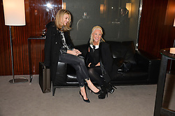 """Left to right, KIM HERSOV and AMANDA ELIASCH at a private screening Of """"The Gun, The Cake and The Butterfly"""" hosted by Amanda Eliasch at The Bulgari Hotel, 171 Knightsbridge, London on 24th March 2014."""