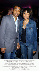 Actress NAOMI HARRIS and actor CHIWETEL EJIOFOR at a party in London on 5th April 2003.PIR 88