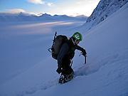 A climber ascends Peril Peak, in Chugach State Park, Alaska