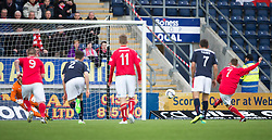 Brechin City's Alan Trouten scoring their goal from the penalty spot. <br /> Falkirk 2 v 1 Brechin City, Scottish Cup fifth round game played today at The Falkirk Stadium.