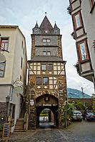 View of the Marksturm Tower, built in the 1300's and still standing guard over Bacharach, Germany.