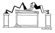 (Man leaning from chair to desk to do his work)