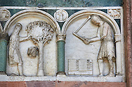 Late medieval relief sculpture depicting the labours for August and July and astrological signs on the Facade of the Cattedrale di San Martino,  Duomo of Lucca, Tunscany, Italy, .<br /> <br /> Visit our ITALY HISTORIC PLACES PHOTO COLLECTION for more   photos of Italy to download or buy as prints https://funkystock.photoshelter.com/gallery-collection/2b-Pictures-Images-of-Italy-Photos-of-Italian-Historic-Landmark-Sites/C0000qxA2zGFjd_k<br /> <br /> <br /> Visit our MEDIEVAL PHOTO COLLECTIONS for more   photos  to download or buy as prints https://funkystock.photoshelter.com/gallery-collection/Medieval-Middle-Ages-Historic-Places-Arcaeological-Sites-Pictures-Images-of/C0000B5ZA54_WD0s .<br /> <br /> If you prefer to buy from our ALAMY PHOTO LIBRARY  Collection visit : https://www.alamy.com/portfolio/paul-williams-funkystock/lucca.html .