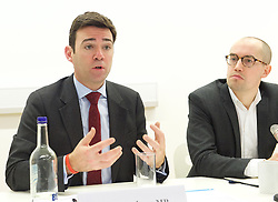 Andy Burnham MP and Luciana Berger MP speech to launch Labour's public health policy at Demos, London, Great Britain <br /> 15th January 2015 <br /> <br /> Andy Burnham MP <br /> shadow Labour Health Minister <br /> <br /> Duncan O'Leary - Demos <br /> <br /> Photograph by Elliott Franks <br /> Image licensed to Elliott Franks Photography Services