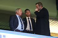 Barry Fry, the director of football at Peterborough Utd  (l) talking to Darragh Macanthony, the chairmen of Peterborough Utd in the stand. The Emirates FA cup, 3rd round match, Chelsea v Peterborough Utd at Stamford Bridge in London on Sunday 8th January 2017.<br /> pic by John Patrick Fletcher, Andrew Orchard sports photography.