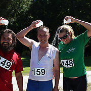 Brian Watts, (left) Andre Klein and Shannon Foley from Wanaka at the Paradise Triathlon and Duathlon series  Paradise, Glenorchy, South Island, New Zealand. 18th February 2012. Photo Tim Clayton