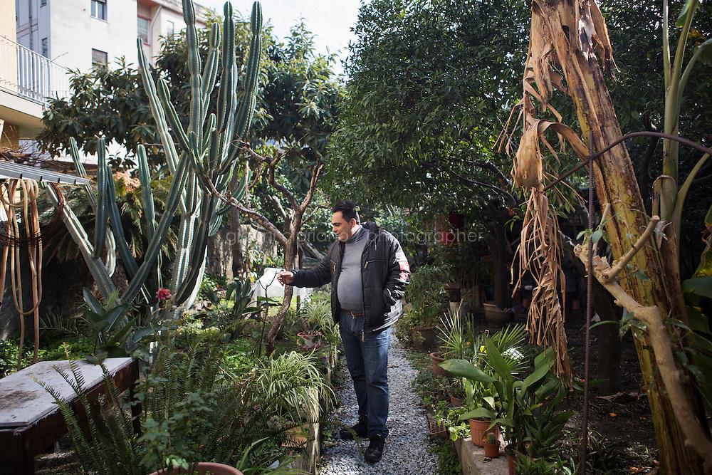 BARCELLONE POZZO DI GOTTO (ME), ITALIA - 20 FEBBRAIO 2015: Gianni Gatto (42 anni), un ospite della Casa di Solidarietà e di Accoglienza di Don Pippo Insana, tocca il ramo di una pianta nel giardino della casa a Barcellona Pozzo di Gotto il 20 febbraio 2015.