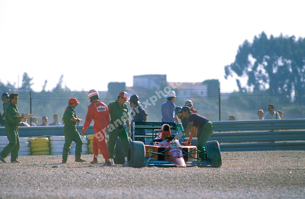 Nigel Mansell (Fwerrari) after his crash with Ayrton Senna in the 1989 Portugese Grand Prix in Estoril. Photo: Grand Prix Photo / Dominique Leroy