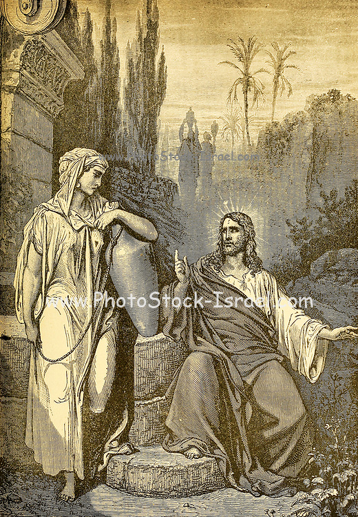 Jesus and the Samaritan at the Well From ' The pictorial Catholic library ' containing seven volumes in one: History of the Blessed Virgin -- The dove of the tabernacle -- Catholic history -- Apparition of the Blessed Virgin -- A chronological index -- Pastoral letters of the Third Plenary. Council -- A chaplet of verses -- Catholic hymns  Published in New York by Murphy & McCarthy in 1887