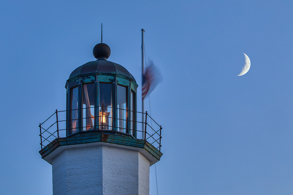 Massachusetts lighthouses photography artworks of Scituate Lighthouse with crescent moon, located in Scituate, Massachusetts.<br /> <br /> Blue hour photography pictures of the Scituate Lighthouse with crescent moon are available as museum quality photography prints, canvas prints, acrylic prints, wood prints or metal prints. Fine art prints may be framed and matted to the individual liking and interior design decorating needs.<br /> <br /> Good light and happy photo making!<br /> <br /> My best,<br /> <br /> Juergen