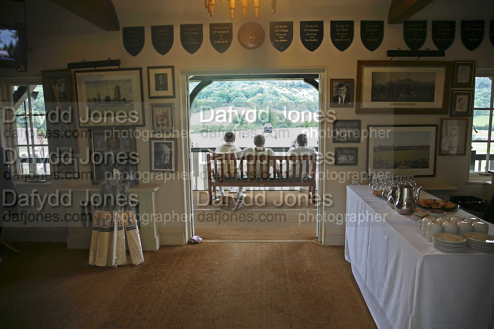 view from clubhouse, Guy Leymarie and Tara Getty host The De Beers Cricket Match. The Lashings Team versus the Old English team. Wormsley. ONE TIME USE ONLY - DO NOT ARCHIVE  © Copyright Photograph by Dafydd Jones 66 Stockwell Park Rd. London SW9 0DA Tel 020 7733 0108 www.dafjones.com