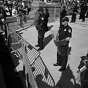 U.S. Capitol Police stand behind barricades used to keep protestors away from the Capitol Building during an Iraq War protest in Washington D.C., USA.<br /> <br /> (Credit Image: © Louie Palu/ZUMA Press)