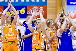 Team of HIT: Iva Grbas, Simona Jurse, Petra Lumpert  after the 4th final match of Slovenian women basketball 1st league between Hit Kranjska Gora and ZKK Merkur Celje, on May 13, 2010, in Arena Vitranc, Kranjska Gora, Slovenia. Celje defeated Kr. Gora 71-60 and the result after 4th match is 2-2. (Photo by Vid Ponikvar / Sportida)