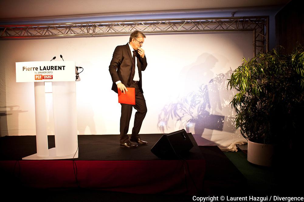 14012013. Paris. Voeux à la presse de Pierre Laurent au siège du PCF.