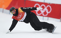 New Zealand's Carlos Garcia Knight in run 1 of qualification for Men's Snowboard Slopestyle the PyeongChang 2018 Winter Olympic Games in South Korea.