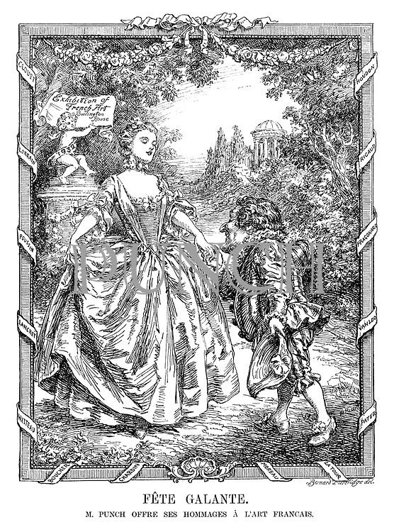 Fete Galante. M Punch offre ses hommages a l'art Francais. (France accepts Mr Punch's gratitude for the coming Exhibition of French Arts - Burlington House, 1932)