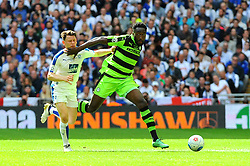 Emmanuel Monthe of Forest Green Rovers holds off Connor Jennings of Tranmere Rovers - Mandatory by-line: Nizaam Jones/JMP - 14/05/2017 - FOOTBALL - Wembley Stadium- London, England - Forest Green Rovers v Tranmere Rovers - Vanarama National League Final