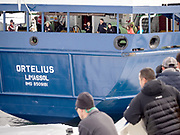 The liveaboard M/V Plancius and The liveaboard Ortelius meet in Svalbard, Arctic.
