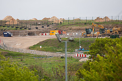 Harefield, UK. 27th April 2019. An area of land in Colne Valley which has been cleared of trees for the HS2 project. The Colne Valley is an area of natural beauty and large numbers of trees have been felled in recent weeks. Huge piles of sawdust are visible on top of the hill.