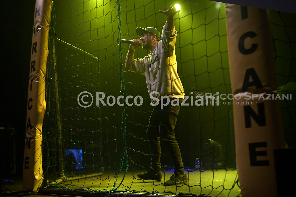 """The young Italian singer rapper Sir Spin finalist contestant of the """"Hurricane Tournament"""" competition, organized by the Roman rapper Mezzosangue in concert at the Atlantic in Rome. Rome (Italy),January 25th ,2020"""