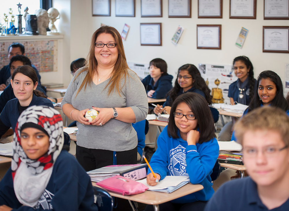 Sandra Rodriguez poses for a photograph in her world geography class at Debakey High School, April 25, 2013.