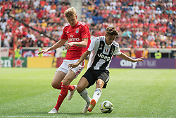 July 28, 2018 - Harrison, New Jersey, United States - SL Benfica midfielder KEATON PARKS (55) fights for the ball during the International Champions Cup at Red Bull Arena in Harrison, NJ.  Juventes defeats SL Benfica 1-1  (Credit Image: © Mark Smith via ZUMA Wire)
