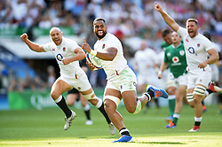 Joe Cokanasiga of England runs in his second try of the match - Mandatory byline: Patrick Khachfe/JMP - 07966 386802 - 24/08/2019 - RUGBY UNION - Twickenham Stadium - London, England - England v Ireland - Quilter International