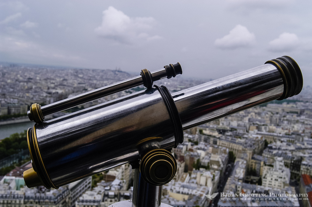 Telescope at the top of the Eiffel Tower, Paris, France.