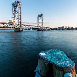 The Memorial Bridge spans the Piscataqua River between Portsmouth, New Hampshire and Kittery, Maine.
