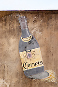 old bottle signe of winery wall dom a voge cornas rhone france