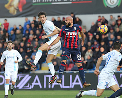 December 17, 2017 - Crotone, KR, Italy - Arlind Ajeti (R) of Crotone competes for the ball with Roberto Inglese of Chievo during the Serie A match between FC Crotone and AC Chievo Verona at Stadio Comunale Ezio Scida on December 17, 2017 in Crotone, Italy. (Credit Image: © Gabriele Maricchiolo/NurPhoto via ZUMA Press)