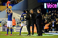 Gary Rowett congratulates Clayton Donaldson during the Sky Bet Championship match between Birmingham City and Reading at St Andrews, Birmingham, England on 13 December 2014.