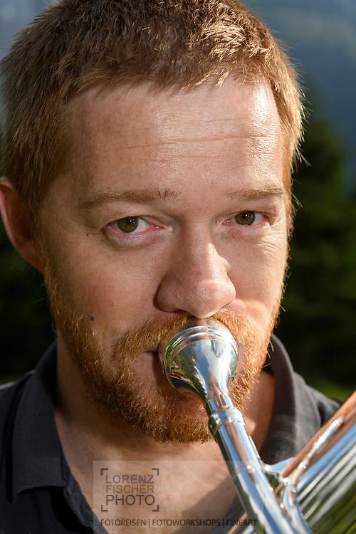 Close-up of a musician, Bergün, Parc Ela, Grisons, Switzerland