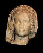 Pergamum Museum Berlin. Robed head of a priestess of the goddess Athena. 117-138 BC. Found in the Byzantine wall of Pergamum.