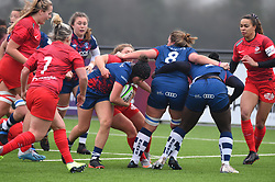 Clara Nielson of Bristol Bears Women carries the ball as Bristol come close - Mandatory by-line: Paul Knight/JMP - 28/11/2020 - RUGBY - Shaftesbury Park - Bristol, England - Bristol Bears Women v Saracens Women - Allianz Premier 15s