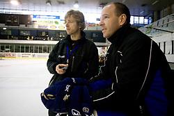 Andrej Brodnik and Dany Gelinas at first practice of Slovenian National Ice hockey team before World championship of Division I - group B in Ljubljana, on April 5, 2010, in Hala Tivoli, Ljubljana, Slovenia.  (Photo by Vid Ponikvar / Sportida)