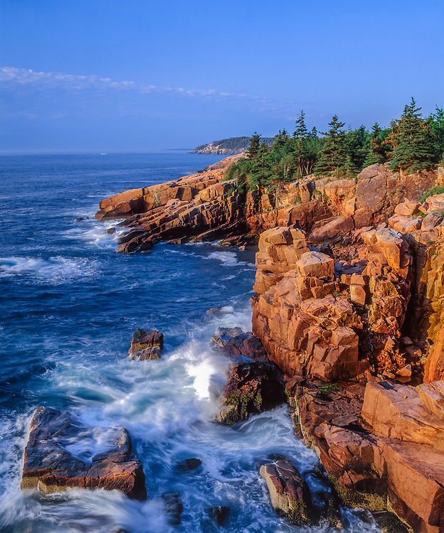 Granite cliffs, Atlantic Ocean surf & view to Otter Cliffs, Acadia National Park, ME